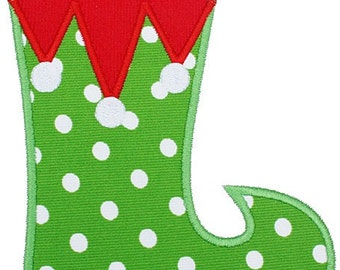 388 Elf Christmas Stocking Machine Embroidery Applique Design