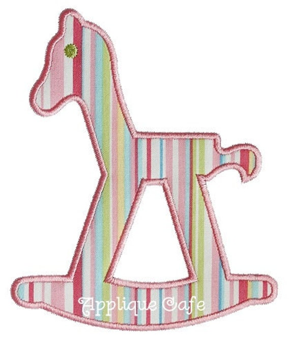 Rocking horse machine embroidery design