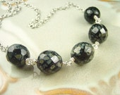 Black and silver czech Glass Sterling Silver Necklace Nuggets Earthy Night Sky