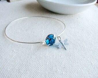 Bangle Bracelet Blue Round Jewel White Dragonfly Charm Jeweled Botanical Estate Style Statement Nature Inspired Naturalist Gift Minimalist