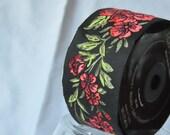 10 continous meters Satin Floral Jacquard Ribbon Trim  50mm red   black