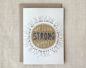 Funny First Father's Day Card - For Husband - Strong Swimmers