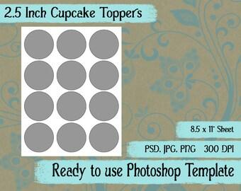 Scrapbook Digital Collage Photoshop Template, 2.5 inch Cupcake Topper