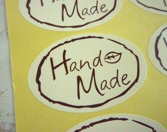 Handmade Oval Label Stickers - Set of 10 - 5cm x 3.5cm