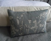 hand printed muted blue grey linen meadow  cushion cover
