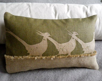 hand printed  muted  olive green triple pheasant cushion cover