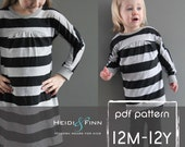 Tulip Tunic and Dress PDF pattern and tutorial 12m-12y easy sew tunic dress jumper