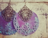 Dreamy Purple Hoop Earrings -- Bold Painted Shabby Boho Style