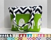 Custom Design Your Own  Elephant and Chevron - Zippered Diaper Tote / Toddler Bag - Small Diaper Bag -