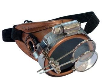 Steampunk goggles monocle eyepatch costume biker glasses dark lens cyber gothic