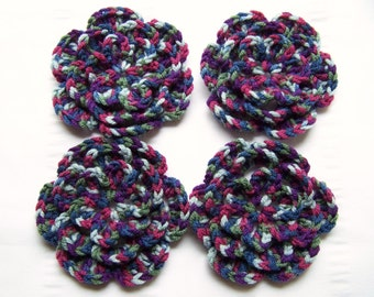 Crocheted flower 3 inch merino wool midnight oasis set of 4