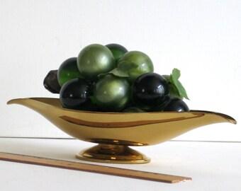Brass Pedestal Bowl, Large 12 inches Long, Relish Dish, Holiday Serving Dish, Decorative Brass Bowl, Trinket Dish, Brass Centerpiece
