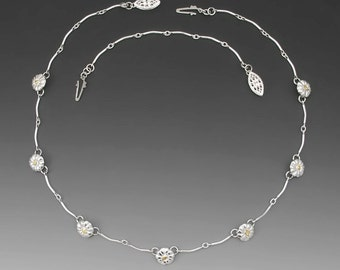 Forget-Me-Not Sterling Silver Necklace with Alaska Gold Nuggets