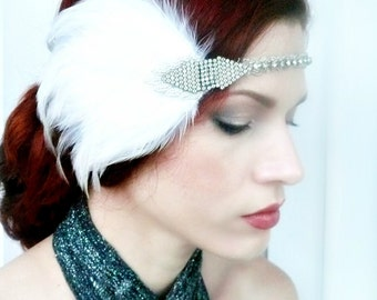 Art Deco Headpiece - Flapper Headband - Vintage Rhinestone White Feather 1920s 1930s Headdress