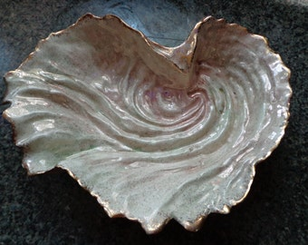 Hedi Schoop Signed California art pottery undulating ruffled free form bowl 1950's