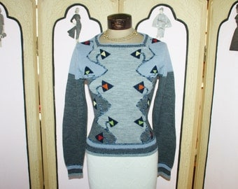 Vintage 1980's Geometric Arrow Sweater by COLLAGE. Small.