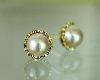 White Akoya Pearl In 14K Gold Ear Studs, Earrings, June Birthstone - Made to Order