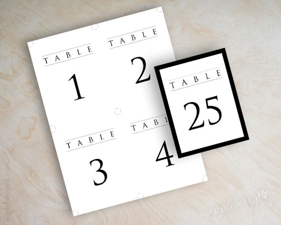 table numbers template for weddings - instant download pdf digital diy table number template