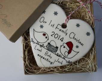 Custom Our 1st Family Christmas Heart Ornament - expecting - love birds with baby on the way un hatched egg