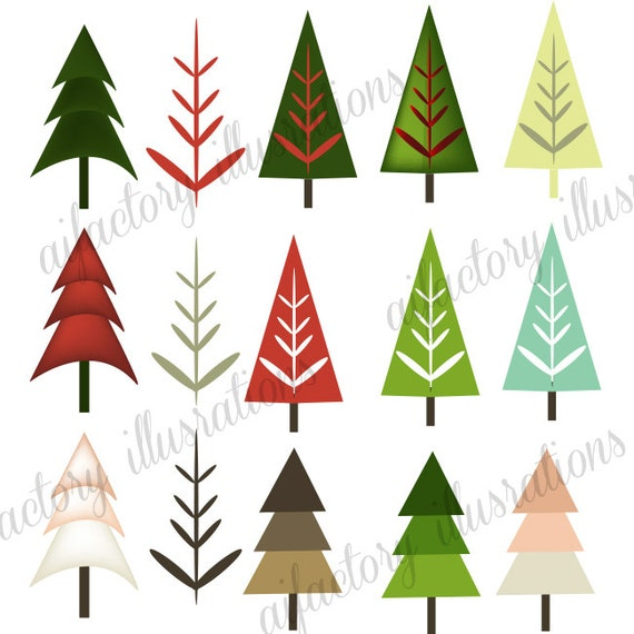 Free Modern Christmas Trees Clipart images Graphics set