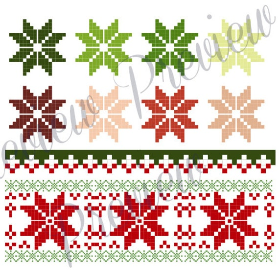 Christmas Clip Art Cross Stitch Christmas Sweater Pattern Clip Art / Holiday Pattern / Clip Art