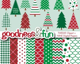 Buy 2, Get 1 FREE - Simply Christmas Digital Clipart & Christmas Digital Paper Pack - Instant Download