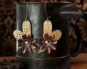 Hammered Brass Steampunk Metal Earrings