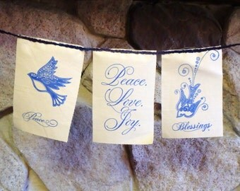 Peaceful Blessings Prayer Flag with Birds and Doves