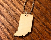 Wooden Indiana Necklace, US State Jewelry in Birch Wood