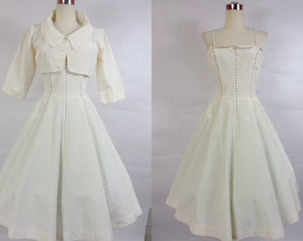 1950's Vintage White Cocktail Dress with Rhinstones by Minx Mode