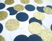 Navy/White/Gold Glitter Confetti shapes-100 pieces - Perfect for Parties/Showers/Weddings/Holidays/Table Decor/DIY Garland