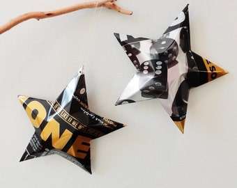 Jones Cola, Stars Christmas Ornaments , Dice, Die,  Soda Can, Upcycled , Black Gold