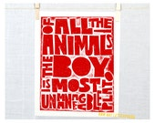 Wall Art for Boys, Kids Quote Sign, Of all the animals the boy is most unmanageable, Plato,  Father's Day, Sign, Nursery Art Print