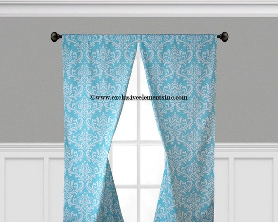 damask curtain panels pool aqua blue and by exclusiveelements