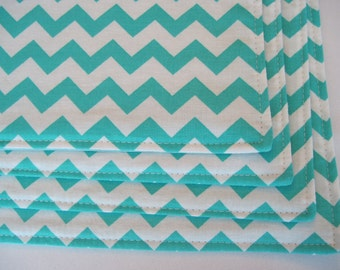Turquoise Chevron Placemats Set of  4 or 6 Reversible Zig Zag Aqua Chevron Placemats Turquoise and White Chevron Placemats Aqua and White