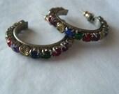 Semi Hoop Earrings Multicolor Rhinestones Blue Red Green Purple Pierced