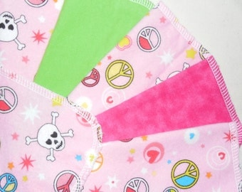 PEACE and SKULLS, 1 dozen Flannel Cloth Baby Wipes, Wash Cloths, Set of 12