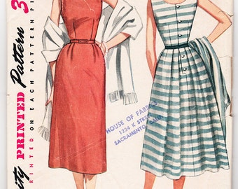 Vintage 1953 Simplicity 4240 Sewing Pattern Misses' One-Piece Dress and Stole Size 12 Bust 30