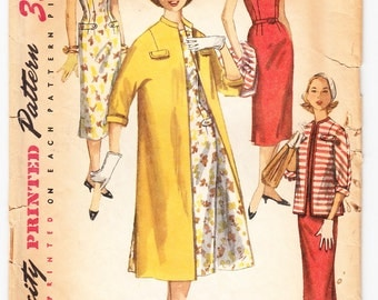 Vintage 1956 Simplicity 1473 Sewing Pattern Teen-Age One-Piece Dress and Coat in Two Lengths Size 12 Bust 30