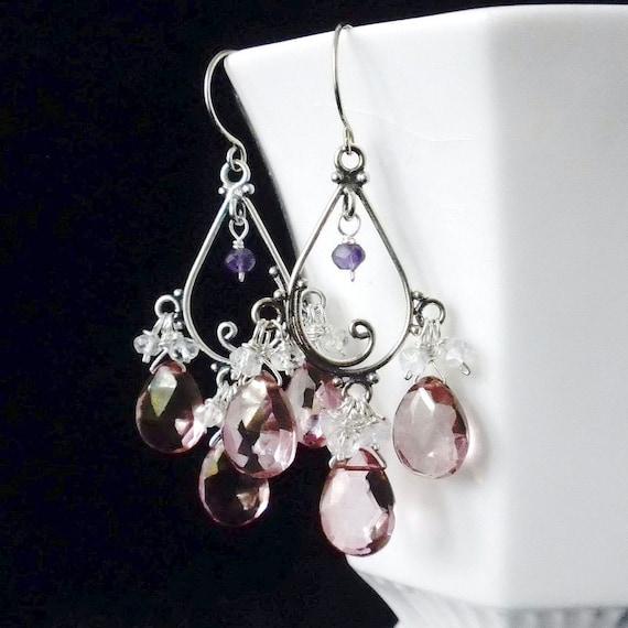 Pink Chandelier Earrings, Pink Quartz Earrings, Pink Quartz and Moonstone  Earrings, SALE