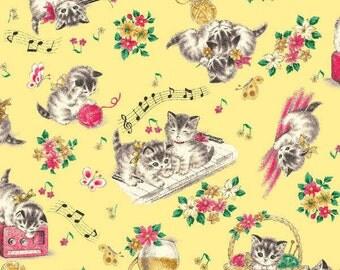 Little World Cotton Fabric Quilt Gate LW1904-12D Kittens on a yellow background