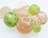 Moogin Beads- set of 11 springtime floral pattern lampwork glass beads 18mm-19mm - SRA
