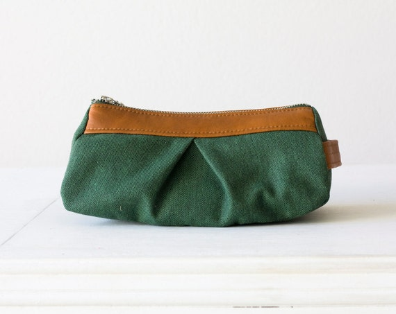 Cosmetic case green, makeup bag in cotton canvas and brown leather - Estia Bag