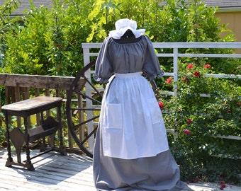 Colonial Prairie Pioneer Dress Short Sleeve Mop Hat Apron