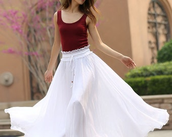 white skirt, white maxi skirt, chiffon skirt long, floor length skirt, plus size skirt, elastic waist skirt, womens long skirts 944