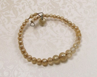 Pearl Bracelet Ivory Baby Childrens Child Wire Strung Vintage Faux