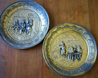 MidCentury Olde English - Pair of Hammered Brass Repousse' Wall Plaques