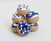 Polymer Clay Donut Charms, Blue Charms, Jewelry Supply
