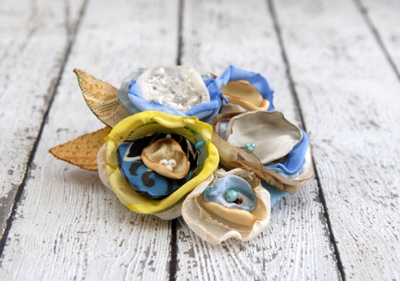 Blue white yellow fabric flower corsage --- Flower Pin --- Tagt Team --- Hat Pin --- Gift for Her
