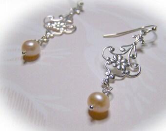 Pink Pearl Chandelier Earrings - Pink Wedding